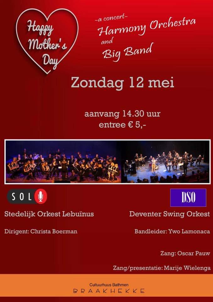 Zondag 12 mei 14.30 uur: Deventer Swingorkest en SOL: Moederdagconcert